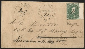 Sale Number 1192, Lot Number 927, Confederate States: General Issues on-Cover, Lithograph Issues5c Green, Stone 2 (1), 5c Green, Stone 2 (1)