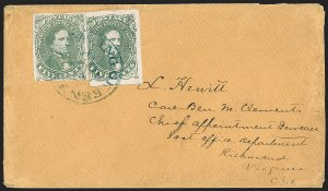 Sale Number 1192, Lot Number 937, Confederate States: General Issues on-Cover, Lithograph Issues5c Olive Green, Stone A-B (1c), 5c Olive Green, Stone A-B (1c)