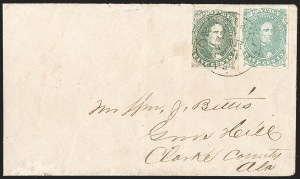 Sale Number 1192, Lot Number 938, Confederate States: General Issues on-Cover, Lithograph Issues5c Olive Green, Stone A-B (1c), 5c Olive Green, Stone A-B (1c)