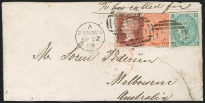 "Sale Number 1193, Lot Number 1558, Great Britain Stamps Used in Panama - ""C35""BRITISH POSTAL AGENCY, Panama, 1869, 1p Rose Red, 4p Vermilion, 1sh Green (A84, A102, A122; SG Z72, Z85, Z103), BRITISH POSTAL AGENCY, Panama, 1869, 1p Rose Red, 4p Vermilion, 1sh Green (A84, A102, A122; SG Z72, Z85, Z103)"