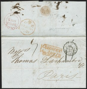 "Sale Number 1193, Lot Number 1568, British Postal Agencies - Chagres & ColonBRITISH POSTAL AGENCY, Colon, 1855 ""Colon"" Double-Arc Datestamp, BRITISH POSTAL AGENCY, Colon, 1855 ""Colon"" Double-Arc Datestamp"