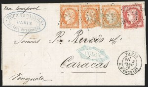 Sale Number 1193, Lot Number 1571, British Postal Agencies - Chagres & ColonBRITISH POSTAL AGENCY, France, 1870-75, 40c Orange on Yellowish, 80c Rose on Pinkish (59, 63; Yvert 38, 57), BRITISH POSTAL AGENCY, France, 1870-75, 40c Orange on Yellowish, 80c Rose on Pinkish (59, 63; Yvert 38, 57)
