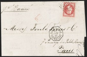 Sale Number 1193, Lot Number 1576, French Postal Agencies - Incl. British CombinationsFRENCH POSTAL AGENCY, Aspinwall (Colon), France, 1868, 80c Rose on Pinkish (36; Yvert 32), FRENCH POSTAL AGENCY, Aspinwall (Colon), France, 1868, 80c Rose on Pinkish (36; Yvert 32)