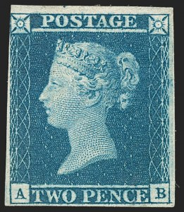 Sale Number 1194, Lot Number 2002, Great BritainGREAT BRITAIN, 1841, 2p Blue (4; SG 14), GREAT BRITAIN, 1841, 2p Blue (4; SG 14)
