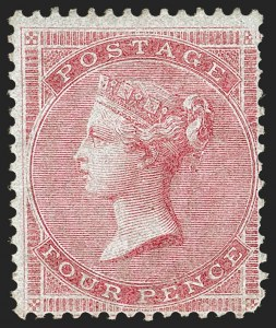 Sale Number 1194, Lot Number 2006, Great BritainGREAT BRITAIN, 1855, 4p Rose on Bluish, Watermark Small Garter (22; SG 62), GREAT BRITAIN, 1855, 4p Rose on Bluish, Watermark Small Garter (22; SG 62)