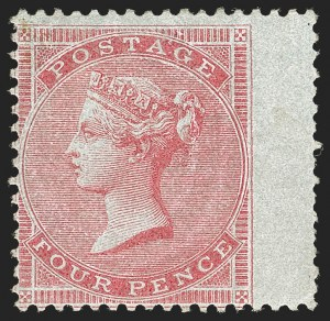 Sale Number 1194, Lot Number 2007, Great BritainGREAT BRITAIN, 1856, 4p Rose on Bluish Paper, Watermark Medium Garter (24; SG 63), GREAT BRITAIN, 1856, 4p Rose on Bluish Paper, Watermark Medium Garter (24; SG 63)