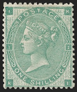 Sale Number 1194, Lot Number 2012, Great BritainGREAT BRITAIN, 1862, 1sh Green (42; SG 90), GREAT BRITAIN, 1862, 1sh Green (42; SG 90)