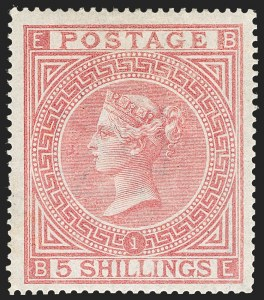 Sale Number 1194, Lot Number 2016, Great BritainGREAT BRITAIN, 1867, 5sh Rose (57; SG 126), GREAT BRITAIN, 1867, 5sh Rose (57; SG 126)