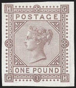 Sale Number 1194, Lot Number 2020, Great BritainGREAT BRITAIN, 1882, £1 Brown Lilac, Imprimatur (92 var; SG 132 var; SG Specialised J127a), GREAT BRITAIN, 1882, £1 Brown Lilac, Imprimatur (92 var; SG 132 var; SG Specialised J127a)