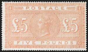 Sale Number 1194, Lot Number 2021, Great BritainGREAT BRITAIN, 1882, £5 Orange (93; SG 137), GREAT BRITAIN, 1882, £5 Orange (93; SG 137)