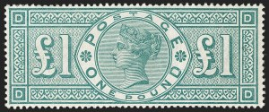 Sale Number 1194, Lot Number 2026, Great BritainGREAT BRITAIN, 1891, £1 Green (124; SG 212), GREAT BRITAIN, 1891, £1 Green (124; SG 212)