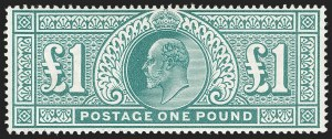 Sale Number 1194, Lot Number 2027, Great BritainGREAT BRITAIN, 1902, £1 Green (142; SG 266), GREAT BRITAIN, 1902, £1 Green (142; SG 266)