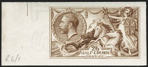 "Sale Number 1194, Lot Number 2029, Great Britain - Imprimaturs from British Postal Museum ArchiveGREAT BRITAIN, 1916, 2sh6p Deep Yellow Brown De La Rue ""Hoe"" Press Seahorse, Imprimatur (173c var; SG 405 var), GREAT BRITAIN, 1916, 2sh6p Deep Yellow Brown De La Rue ""Hoe"" Press Seahorse, Imprimatur (173c var; SG 405 var)"