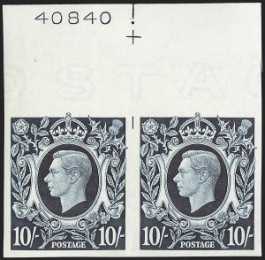 Sale Number 1194, Lot Number 2036, Great Britain - Imprimaturs from British Postal Museum ArchiveGREAT BRITAIN, 1939, 10sh Dark Blue King George VI Arms, Imprimatur (251 var; SG 478 var), GREAT BRITAIN, 1939, 10sh Dark Blue King George VI Arms, Imprimatur (251 var; SG 478 var)
