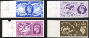 Sale Number 1194, Lot Number 2037, Great Britain - Imprimaturs from British Postal Museum ArchiveGREAT BRITAIN, 1949, 2-1/2p-1sh U.P.U., Imprimaturs (276-279 vars; SG 499-502 vars), GREAT BRITAIN, 1949, 2-1/2p-1sh U.P.U., Imprimaturs (276-279 vars; SG 499-502 vars)