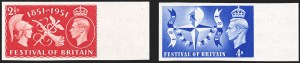 Sale Number 1194, Lot Number 2038, Great Britain - Imprimaturs from British Postal Museum ArchiveGREAT BRITAIN, 1951, 2-1/2p-4p Festival of Britain, Imprimaturs (290-291 vars; SG 513-514 vars), GREAT BRITAIN, 1951, 2-1/2p-4p Festival of Britain, Imprimaturs (290-291 vars; SG 513-514 vars)