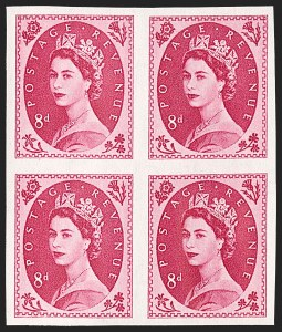 Sale Number 1194, Lot Number 2040, Great Britain - Imprimaturs from British Postal Museum ArchiveGREAT BRITAIN, 1955, 8p Magenta, Imprimatur (327 var; SG 550 var), GREAT BRITAIN, 1955, 8p Magenta, Imprimatur (327 var; SG 550 var)