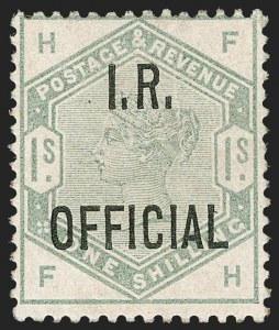 Sale Number 1194, Lot Number 2044, Great Britain - Officials thru Offices AbroadGREAT BRITAIN, 1885, 1sh Green I.R. Official (O7; SG O7), GREAT BRITAIN, 1885, 1sh Green I.R. Official (O7; SG O7)