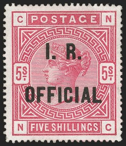 Sale Number 1194, Lot Number 2045, Great Britain - Officials thru Offices AbroadGREAT BRITAIN, 1885, 5sh I.R. Official (O8; SG O9), GREAT BRITAIN, 1885, 5sh I.R. Official (O8; SG O9)