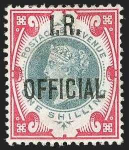 Sale Number 1194, Lot Number 2046, Great Britain - Officials thru Offices AbroadGREAT BRITAIN, 1901, 1sh Carmine Rose & Green I.R. Official (O18; SG O19), GREAT BRITAIN, 1901, 1sh Carmine Rose & Green I.R. Official (O18; SG O19)