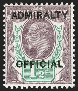 Sale Number 1194, Lot Number 2053, Great Britain - Officials thru Offices AbroadGREAT BRITAIN, 1903, 1-1/2p Violet & Green Admiralty Official (O74; SG O103), GREAT BRITAIN, 1903, 1-1/2p Violet & Green Admiralty Official (O74; SG O103)