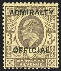 Sale Number 1194, Lot Number 2054, Great Britain - Officials thru Offices AbroadGREAT BRITAIN, 1903, 3p Violet on Yellow Admiralty Official (O77; SG O106), GREAT BRITAIN, 1903, 3p Violet on Yellow Admiralty Official (O77; SG O106)