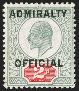 Sale Number 1194, Lot Number 2055, Great Britain - Officials thru Offices AbroadGREAT BRITAIN, 1903, 2p Green & Carmine Admiralty Official (O81; SG O110), GREAT BRITAIN, 1903, 2p Green & Carmine Admiralty Official (O81; SG O110)