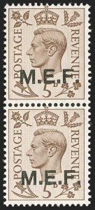 Sale Number 1194, Lot Number 2056, Great Britain - Officials thru Offices AbroadGREAT BRITAIN, Offices in Africa, Middle East Forces, 1942-43, 1p-5p M.E.F. Overprints, Cairo Printing, Square Dots (1a-5b; SG M6-M10), GREAT BRITAIN, Offices in Africa, Middle East Forces, 1942-43, 1p-5p M.E.F. Overprints, Cairo Printing, Square Dots (1a-5b; SG M6-M10)