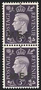 Sale Number 1194, Lot Number 2057, Great Britain - Officials thru Offices AbroadGREAT BRITAIN, Offices in Africa, Middle East Forces, 1942-43, 1p-3p M.E.F. Overprints, Vertical Pairs, Square and Round Dots (1c-4d; SG M6b-M9b), GREAT BRITAIN, Offices in Africa, Middle East Forces, 1942-43, 1p-3p M.E.F. Overprints, Vertical Pairs, Square and Round Dots (1c-4d; SG M6b-M9b)