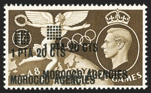 Sale Number 1194, Lot Number 2061, Great Britain - Officials thru Offices AbroadGREAT BRITAIN, Offices in Morocco, 1948 1.20pe on 1sh Olympic Games, Double Surcharge (98a; SG 181a), GREAT BRITAIN, Offices in Morocco, 1948 1.20pe on 1sh Olympic Games, Double Surcharge (98a; SG 181a)