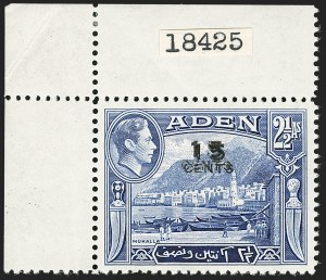 Sale Number 1194, Lot Number 2071, Abu Dhabi thru AnguillaADEN, 1951, 15c on 2-1/2a Blue, Double Surcharge (38a; SG 38a), ADEN, 1951, 15c on 2-1/2a Blue, Double Surcharge (38a; SG 38a)