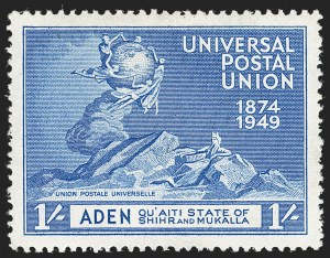Sale Number 1194, Lot Number 2073, Abu Dhabi thru AnguillaADEN, Quaiti State of Shihr & Mukalla, 1949, 1r on 1sh UPU, Surcharge Omitted (19a; SG 19a), ADEN, Quaiti State of Shihr & Mukalla, 1949, 1r on 1sh UPU, Surcharge Omitted (19a; SG 19a)