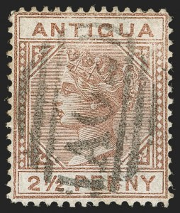 "Sale Number 1194, Lot Number 2076, Antigua thru BahamasANTIGUA, 1879, 2-1/2p Red Brown, Large ""2"" With Slanting Bottom Line (9a; SG 19a), ANTIGUA, 1879, 2-1/2p Red Brown, Large ""2"" With Slanting Bottom Line (9a; SG 19a)"