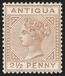 "Sale Number 1194, Lot Number 2077, Antigua thru BahamasANTIGUA, 1882, 2-1/2p Red Brown, Large ""2"" with Slanting Bottom Line (13a; SG 22b), ANTIGUA, 1882, 2-1/2p Red Brown, Large ""2"" with Slanting Bottom Line (13a; SG 22b)"
