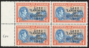 "Sale Number 1194, Lot Number 2084, Antigua thru BahamasBAHAMAS, 1942, 4p Landfall of Columbus, ""COIUMBUS"" Error (SG 168a), BAHAMAS, 1942, 4p Landfall of Columbus, ""COIUMBUS"" Error (SG 168a)"