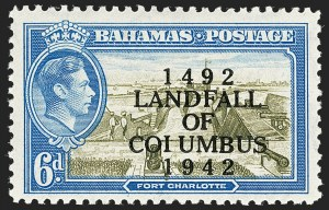 "Sale Number 1194, Lot Number 2085, Antigua thru BahamasBAHAMAS, 1942, 6p Landfall of Columbus, ""COIUMBUS"" Error (SG 169a), BAHAMAS, 1942, 6p Landfall of Columbus, ""COIUMBUS"" Error (SG 169a)"