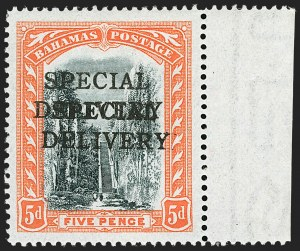 Sale Number 1194, Lot Number 2087, Antigua thru BahamasBAHAMAS, 1916, 5p Orange & Black, Special Delivery, Double Overprint (E1a; SG S1a), BAHAMAS, 1916, 5p Orange & Black, Special Delivery, Double Overprint (E1a; SG S1a)