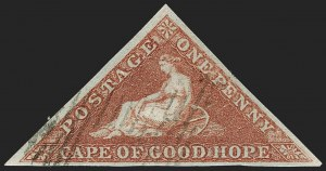 Sale Number 1194, Lot Number 2198, Cape of Good HopeCAPE OF GOOD HOPE, 1853, 1p Brick Red on Bluish Paper (1; SG 1), CAPE OF GOOD HOPE, 1853, 1p Brick Red on Bluish Paper (1; SG 1)