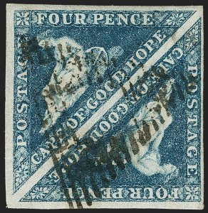 "Sale Number 1194, Lot Number 2211, Cape of Good HopeCAPE OF GOOD HOPE, 1864, 4p Blue, ""Wooly Print"" (13 var; SG 19 var), CAPE OF GOOD HOPE, 1864, 4p Blue, ""Wooly Print"" (13 var; SG 19 var)"
