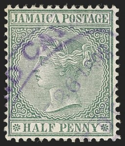Sale Number 1194, Lot Number 2215, Cayman Islands thru CeylonCAYMAN ISLANDS, Jamaica, 1889-94, -1/2p Gray Green (A1; SG Z1), CAYMAN ISLANDS, Jamaica, 1889-94, -1/2p Gray Green (A1; SG Z1)
