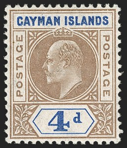 Sale Number 1194, Lot Number 2216, Cayman Islands thru CeylonCAYMAN ISLANDS, 1907, 4p Brown & Blue, Slotted Frame Variety (13 var; SG 13 var), CAYMAN ISLANDS, 1907, 4p Brown & Blue, Slotted Frame Variety (13 var; SG 13 var)