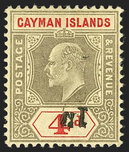 Sale Number 1194, Lot Number 2217, Cayman Islands thru CeylonCAYMAN ISLANDS, 1907, 1p on 4p Black & Red on Yellow, Inverted Surcharge (20 footnote; SG 35 footnote), CAYMAN ISLANDS, 1907, 1p on 4p Black & Red on Yellow, Inverted Surcharge (20 footnote; SG 35 footnote)