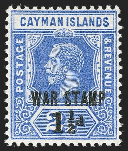 Sale Number 1194, Lot Number 2218, Cayman Islands thru CeylonCAYMAN ISLANDS, 1917, 1-1/2p on 2-1/2p Ultramarine, War Tax (MR3; SG 55), CAYMAN ISLANDS, 1917, 1-1/2p on 2-1/2p Ultramarine, War Tax (MR3; SG 55)