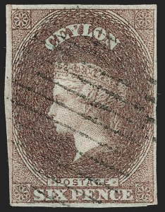 Sale Number 1194, Lot Number 2219, Cayman Islands thru CeylonCEYLON, 1857, 6p Plum (2; SG 1), CEYLON, 1857, 6p Plum (2; SG 1)