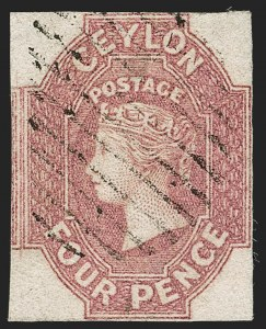 Sale Number 1194, Lot Number 2220, Cayman Islands thru CeylonCEYLON, 1859, 4p Dull Rose (5; SG 4), CEYLON, 1859, 4p Dull Rose (5; SG 4)