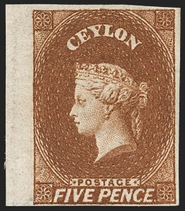 Sale Number 1194, Lot Number 2221, Cayman Islands thru CeylonCEYLON, 1857, 5p Orange Brown (6; SG 5), CEYLON, 1857, 5p Orange Brown (6; SG 5)