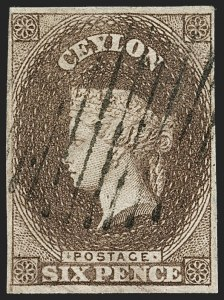 Sale Number 1194, Lot Number 2222, Cayman Islands thru CeylonCEYLON, 1857, 6p Brown (7; SG 6a), CEYLON, 1857, 6p Brown (7; SG 6a)