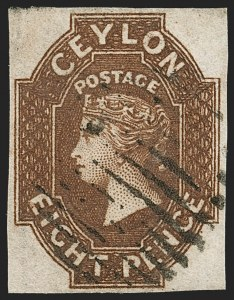 Sale Number 1194, Lot Number 2223, Cayman Islands thru CeylonCEYLON, 1859, 8p Brown (8; SG 7), CEYLON, 1859, 8p Brown (8; SG 7)