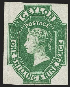 Sale Number 1194, Lot Number 2226, Cayman Islands thru CeylonCEYLON, 1859, 1sh9p Green (12; SG 11), CEYLON, 1859, 1sh9p Green (12; SG 11)