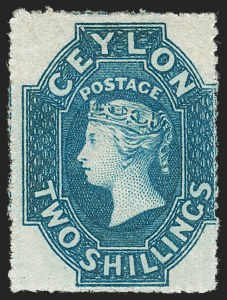 Sale Number 1194, Lot Number 2230, Cayman Islands thru CeylonCEYLON, 1861, 2sh Blue, Rough Perf 14-15-1/2 (36; SG 37), CEYLON, 1861, 2sh Blue, Rough Perf 14-15-1/2 (36; SG 37)